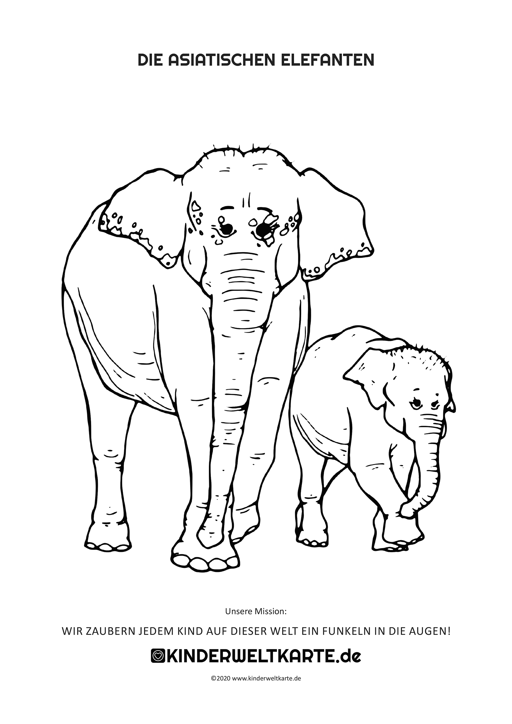 asiatischer elefant als kostenloses ausmalbild in din a4